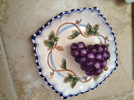 3 dimensional decorative ceramic plate of grapes bella casa by ganz - $59.99