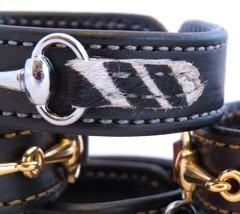Black Leather Faux Fur Zebra Print Silver Horse Snaffle Bit Bracelet Equestrian - £32.67 GBP