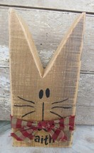 CUTE COUNTRY CAT Hand Painted Reclaimed Wood Ru... - $20.63