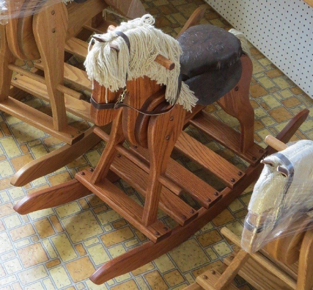 WOODEN ROCKING HORSE W SADDLE Handmade Toddler Nusery Wood
