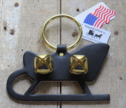 Christmas Sleigh Bell Dog Door Chime Amish Handmade USA Brass Leather Ho... - $19.77