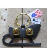 Christmas Sleigh Bell Dog Door Chime Amish Handmade USA Brass Leather Ho... - $19.57