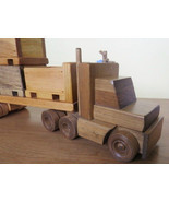 HANDMADE WOOD SKID TRUCK - Tractor Trailer with 3 Crates Pallet Cargo Am... - $137.17