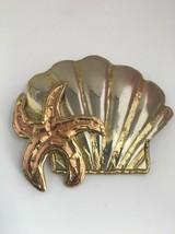 Mixed Metal Shell Starfish Pin Brooch Pendant - $21.22