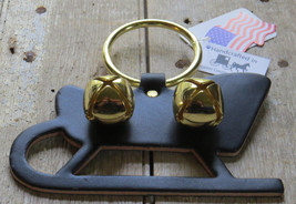 Christmas Sleigh Bell Dog Door Chime Amish Handmade USA Brass Leather Holiday image 2