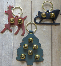 Christmas Sleigh Bell Dog Door Chime Amish Handmade USA Brass Leather Holiday image 3