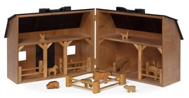 Wood Toy Farm with Folding Barn Play Animals & Fence - Amish Handmade in USA - $257.37