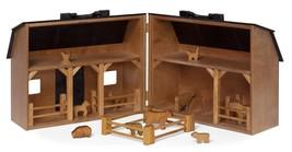 Wood Toy Farm with Folding Barn Play Animals & Fence - Amish Handmade in... - $257.71