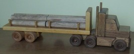 Large Wood Log Truck Toy Tractor Trailer Wooden Construction Usa Handmade - $138.59