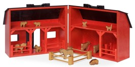 TOY WOOD BARN Complete w/ Barnyard of Farm Animals & Fence Amish Handmad... - $274.37
