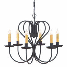 Large RUSTIC WROUGHT IRON HEART CHANDELIER 6 Candelabra Country Ceiling ... - $277.15