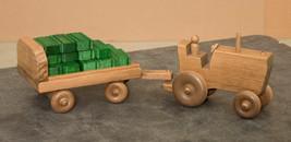 FARM TRACTOR with CART HAY BALES & FEED SACKS - Amish Handmade Farm Wood... - $83.27