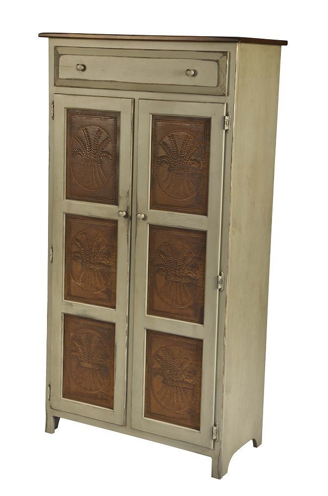 Amish Handmade LARGE 5u0027 PIE SAFE HUTCH With PUNCHED TIN PANELS In Antique  Stain