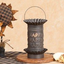 TIN WAX WARMER Handmade HAPPY HAPPY HAPPY Electric Accent Light in 2 Fin... - $28.49