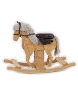 WOODEN GALLOPING ROCKING HORSE w SADDLE Handmade Toddler Nursery CLACKITY - $284.17