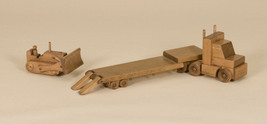 Wooden Flatbed Low Boy Trailer Truck with Bulldozer USA Handmade Wood Toy - $197.97