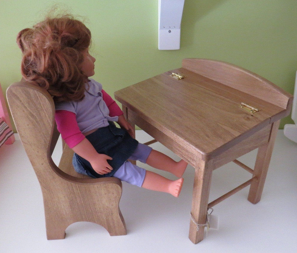 AMERICAN GIRL DOLL FLIP TOP SCHOOL DESK w CHAIR  Amish Handmade Wooden Furniture