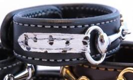 Black Leather Zebra Print Equestrian Horse Silver Snaffle Bit Bracelet H... - £33.61 GBP