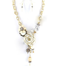 Gold Rose Flower Chunky Crystal White Link Chain Long Pearl Elegant Neck... - $9.99