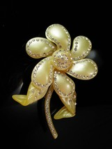 "HUGE Brooch BIGGEST celluloid flower pin Rhinestones  Rare Beauty LARGE 4""  - $145.00"
