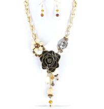 Gold Rose Flower Chunky Crystal Brown Link Chain Long Pearl Elegant Neck... - $9.99