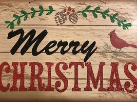 new Rustic Christmas Decor Glitter Sign MERRY CHRISTMAS Holiday Wall Dec... - $9.90