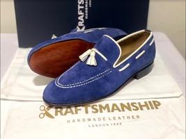 Handmade Men's Blue Suede Slip Ons Loafer Dress/Formal Shoes image 10