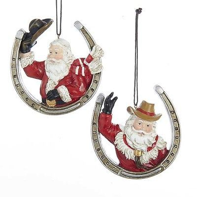 Santa w/Horseshoe Ornament