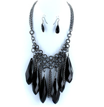 Hematite Tone Chain Link Mesh Faceted Black Crystal Daggers Elegant Neck... - $17.49
