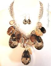 Womens Faceted Giant Teardrop Crystal Silver Chunky Acrylic Topaz Neckla... - $14.99
