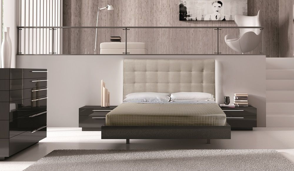J&M Beja Premium King Size Bedroom Set 4pc. Chic Contemporary Modern