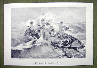 NUDE Fight for Life Boat on Sea Survivors Men Women - VICTORIAN Era Print