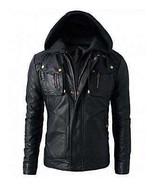 New Men's Motorcycle Brando Style Biker Real Leather Hoodie Jacket - Det... - $69.99+
