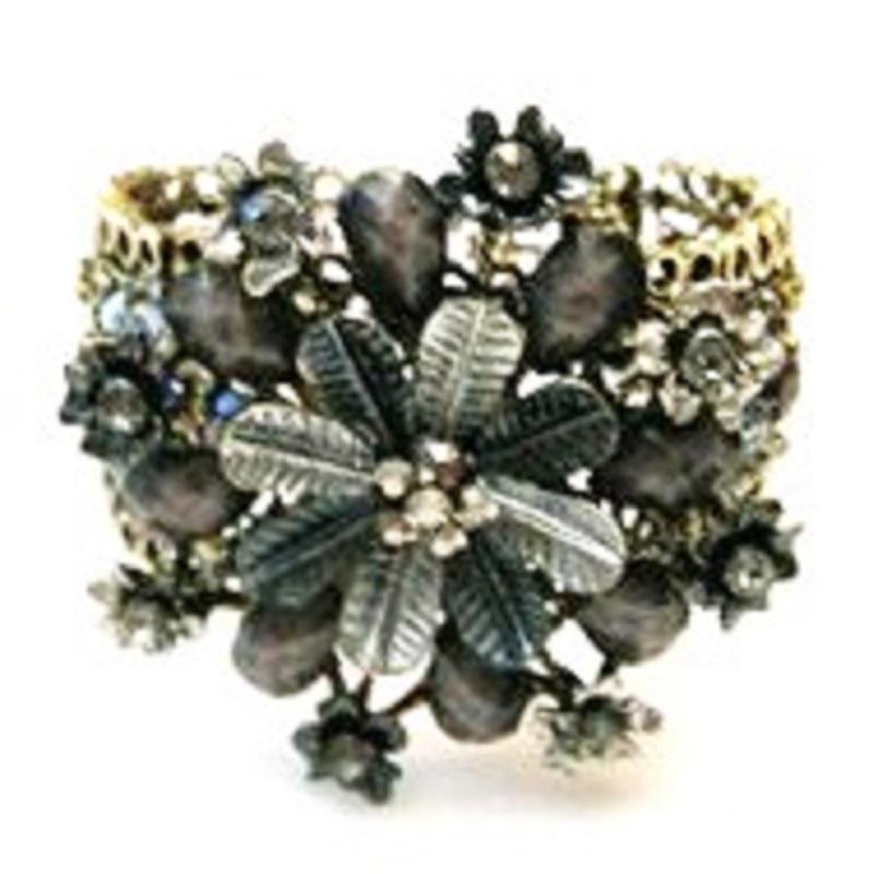 Vintage Inspired Gray Flower Rhinestones Fashion Cuff Bracelet