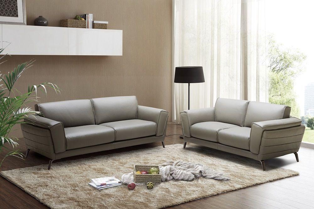 J&M Berlin Premium Sofa set Italian Leather Contemporary Modern Grey