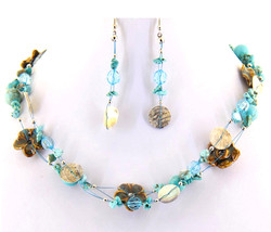 Blue Aqua Turquoise Beads Ceramic Brown Flowers Shell Disc Strands Necklace Set - $9.97