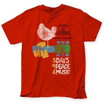 Official Licensed Woodstock 3 days of Peach & music Poster T-shirt S-2XL... - $20.99 - $22.99