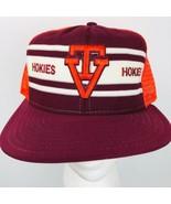 Vintage AJD Super Stripe Virginia Tech Hokies Mesh back Truckers Hat Cap - $59.39