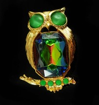 Jelly belly Owl Brooch vintage BIG Bird Figural signed costume jewelry t... - $85.00