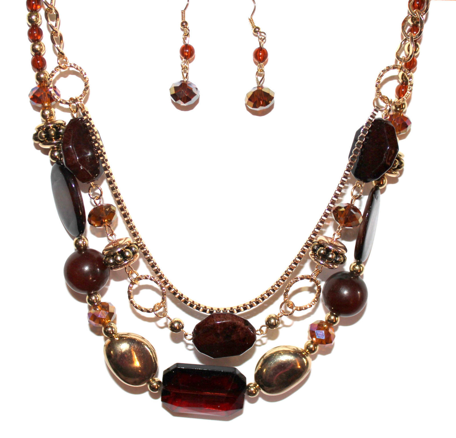 Primary image for Gold Tone Brown Crystal Multi Layer Strand Beaded Autumn Topaz AB Necklace Set