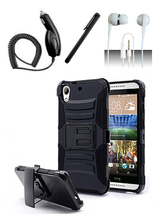 HTC Desire 530 Black Heavy Duty Hybrid Armor Dual Layer Case With Kickst... - $12.99