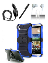 HTC Desire 530 Blue / Black Heavy Duty Hybrid Armor Dual Layer Case w/ Kickstand - $12.99
