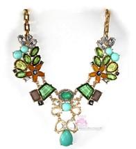 Green Flower Celebrity Glam Fun Garden Crystal Gold Art Deco Chunky Necklace - $9.97