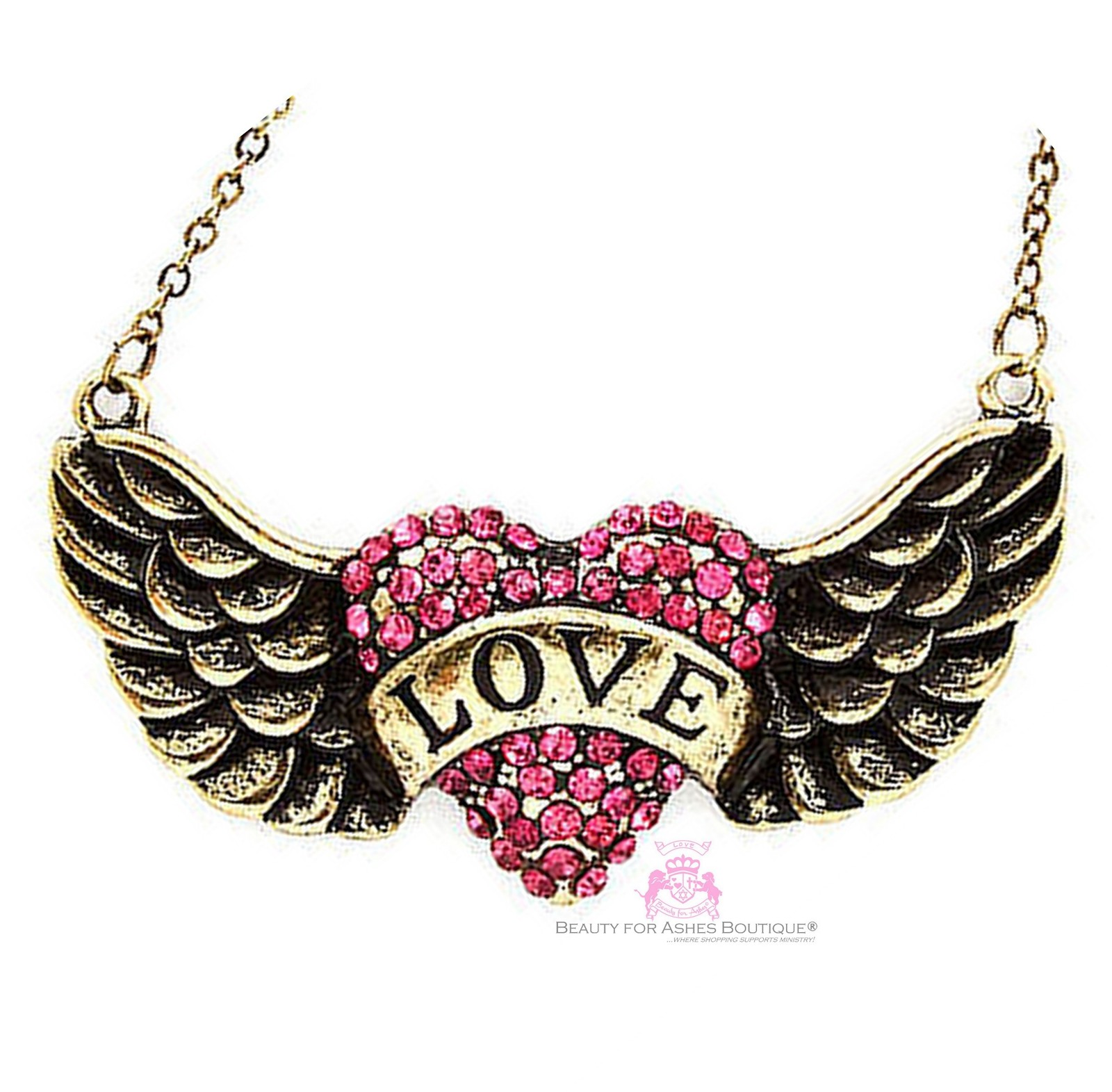 BEAUTY FOR ASHES HIS BANNER OVER ME IS LOVE HEART ANGEL WING CRYSTAL NECKLACE