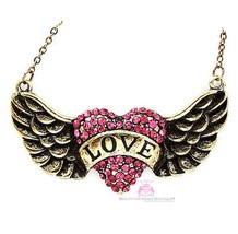 Beauty for Ashes®  His Banner Over Me Is Love Heart Angel Wing Crystal Necklace - $24.95
