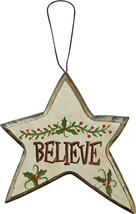 Wood Christmas Ornament X8160C-Believe Star   - $2.25