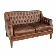 "53"" Sofa Settee Distressed Cigar Brown Tufted Leather Contemporary - $37.390,40 MXN"