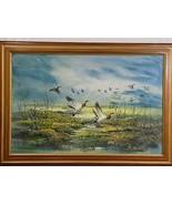 Great Vintage Framed R ALBERT Oil Painting Mallard Ducks Flying Over Lan... - $351.45