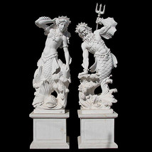 MAGNIFICENT PAIR OF NEPTUNE & AMPHITRITE WHITE MARBLE SCULPTURES/STATUES... - $19,995.00
