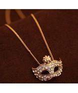 Fashion Rhinestone Mask Pendant Necklace(Gold) - $8.59